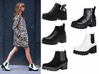 Womens Ladies New Chelsea Platform Ankle Boots Chunky Low Mid Heel Biker Size