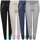 Womens Full Length Diamante Joggers Ladies Cuffed Casual Trousers With Pockets