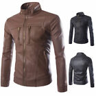 Hot Cool Men Slim Fit Motorcycle Coat PU Leather Collar Jacket Warm Overcoat Lot