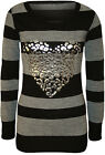 New Womens Striped Silver Foil Heart Long Sleeve Top Ladies Knitted Jumper 8-14