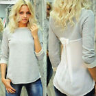Fashion Women Chiffon Splice Tops Long Sleeve Bow Blouse Casual Tops T-Shirt