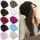 H Men Womens Ladies Baggy Chunky Knit Knitted Braided Beanie Slouch Hat Ski Cap