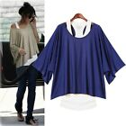 Women Tank Top Batwing Short Loose Casual Sleeve Blouses T-shirt Vest S-XXL
