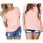 New Fashion Women Lace Short Sleeve T Shirt Casual Tops Tank Ladies' Blouse