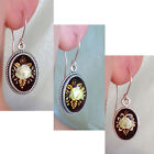 BALTIC MULTICOLOR AMBER & STERLING SILVER HANDMADE ROSE ENGRAVED EARRINGS