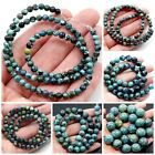 "Natural Blue Hubei Turquoise Round Beads 15"" 3,6,8mm Pick your size"