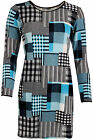 New Womens Crepe Knitted Check Print Swing Short Mini Dress Ladies Top 8-14