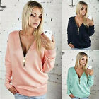 2015 Stylish Women Sexy Zipper V-Neck Long Sleeve T Shirt Tops Blouse Casual Top