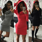 Womens Three-color package hip Sport Dress Short long-sleeved warm hooded dress
