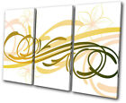 Abstract Floral Swirls  Colourful TREBLE CANVAS WALL ART Picture Print VA