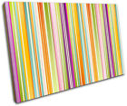 Colour Stripes Modern Abstract SINGLE CANVAS WALL ART Picture Print VA