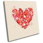 Hearts Floral Colourful Love SINGLE CANVAS WALL ART Picture Print VA