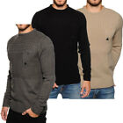 mens Soulstar Cable Knitted Chest Pocket Jumper Knitted Sweater Pullover Top