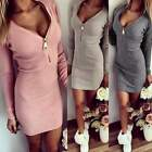 Korean Casual Ladies Women V Neck Bodycon Slim Mini Dress Long Pullover Kniwear