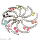 2PCs Silver Arc Bag Kiss Clasp Lock Lace Bags DIY Accessories Resin Round Head