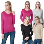 Womens Round Neck Long Sleeve Basic Casual Soft Blouse Tees T-Shirts Tops TW1Y