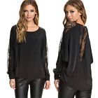 New Sale Stylish Ladies Loose Lace Splice perspective Long sleeve T-Shirt Tops