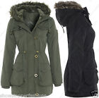 NEW PARKA Womens MILITARY Ladies JACKET COAT Shower Proof QUILTED Size 8 10