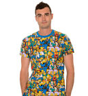 Adult Animated Sitcom Show The Simpsons Multi Character Collage Blue T-shirt Tee