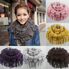 Womens' Warm Vogue Infinity 2 Circle Cable Knit Cowl Neck Tassel Scarf Shawl