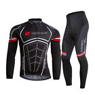 Mens Sportwear Bike Bicycle Clothing Long Sleeve Cycling Jersey&Trouser Suits