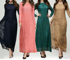 Women Kaftan Abaya Jilbab Islamic Lace Muslim Long Sleeve Party Maxi Dress Cloth