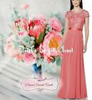 JULIA Sunset Coral Lace Chiffon Prom Bridesmaid Ballgown Dress UK Sizes 6 - 18