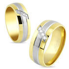 RING ENGAGEMENT COUPLE WOMAN MAN STEEL & GOLD PLATED SET NEW ZIRCON  1532