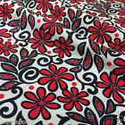 per 1/2 metre/fat quarter ivory, black & red abstract floral fabric 100% cotton