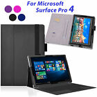 Folio PU Leather Stand Case Cover with Card Holder for Microsoft Surface Pro 4