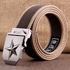Mens Fashion Sports Canvas Belts Casual Steel STAR Buckle Military Waistband C38