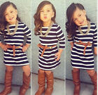 Kids Baby Girls 2PCS Long Sleeve Striped T-Shirt Dress +Belt Outfit Set 2-8Y