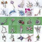 Silver Plate Alloy Crystal Rhinestoe Flower Charm Bead Pendant For Necklace