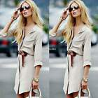 Women Casual Belt Slim Long Sleeve Button Short Mini Shirt Dress Long Blouse Hot