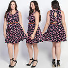 TheMogan Plus Size Floral Print Fit & Flare A-Line Belted Tank Dress