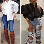 Fashion Butterfly Knot Shirt Tee Casual Puff Sleeve Blouse Top NEW Coat Outwear