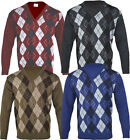 VJ2 Mens Argyle Diamond Casual Long Sleeve V - Neck Jumper Top Pullover Golf