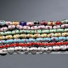 Lampwork Glass Red Blue Flower Oval Foil Loose Beads Jewelry Making DIY Gift