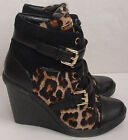 NIB Authentic Michael Kors Skid Wedge Animal Print Calf Hair Shoe Women Sz 8