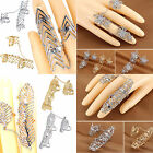 Chic Punk Rock Style Rhinestone Leaf Tassel Chain Knuckle Two Finger Joint Ring