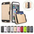 New Hybrid PC Brushed Wallet Card Shockproof Case Cover For iPhone 6 6S Plus