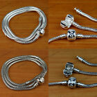 Wholesale Lots Fashion Silver Snake Chain Bracelet Fit European Charm Bead 17-19