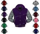 Faux Leather Sleeve Letterman College Varsity Wool Jackets Hoodie #LGY-SL-LGY-S
