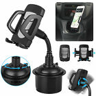 Universal 360° Adjustable Car Cup Cell Phone Holder Mount Cradle Gooseneck Black