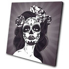 Day of the Dead Girl Illustration SINGLE CANVAS WALL ART Picture Print