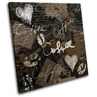 Coffee Grunge Typography SINGLE CANVAS WALL ART Picture Print