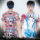 street punk visual beijing opera painted face giddy 3D print tee J1Q0025 C