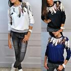 Fashion Womens Long Sleeve Loose T-shirt Blouse Casual Feather Print Shirts Tops