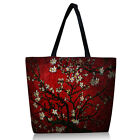 Red Flower Soft Lightweight Zippered Reusable Shoulder Shopping Bag Tote Handbag