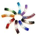 48x9mm Rhinestone Silver Plated Curved Tube with 4mm Hole 1pc, pick your color